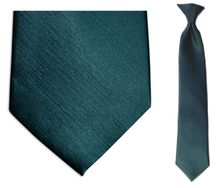 Boys Solid Forest Green Clip On Tie