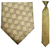 Boys Silk Woven Yellow Link Pattern Clip On Tie