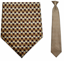 Men's Beige + Red Oval Pattern Clip-On Tie