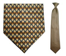 Men's Gold + Grey Oval Pattern Clip-On Tie