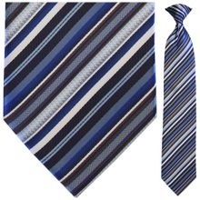 Men's Woven Blue, White + Brown Clip On Tie