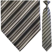 Men's Woven Grey Multi Striped Clip-On Tie