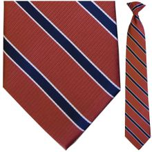 Men's Woven Clay Red + Navy Striped Clip-On Tie