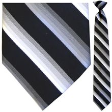 Men's Charcoal, White + Black Striped Clip-On Tie