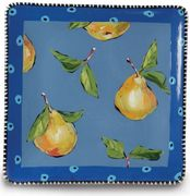 Denise's Dotted Fruit Square Plate/Pear