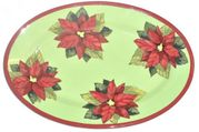 Red Poinsettia Small Oval Platter