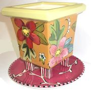 Tropical Flower Square Footed Planter