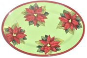 Poinsettia/Green Small Oval Platter