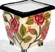 Red Rose Square Footed Planter