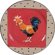 Rooster Dinner Plate/Red