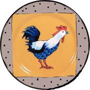 Rooster Dinner Plate/Gold