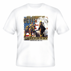 All American outfitters FIREFIGHTERS firemen t-shirt or pocket shirt