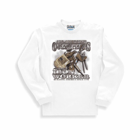 All American Outfitters Iron Worker building America since 1776 long sleeve t-shirt shirt sweatshirt