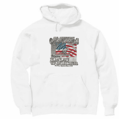All American Outfitters Union Iron Worker Building America since 1776 hoodie hooded sweatshirt