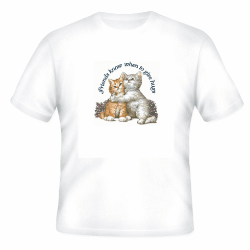 Animal Nature cat kitten kitty friends know when to give hugs shirt t-shirt