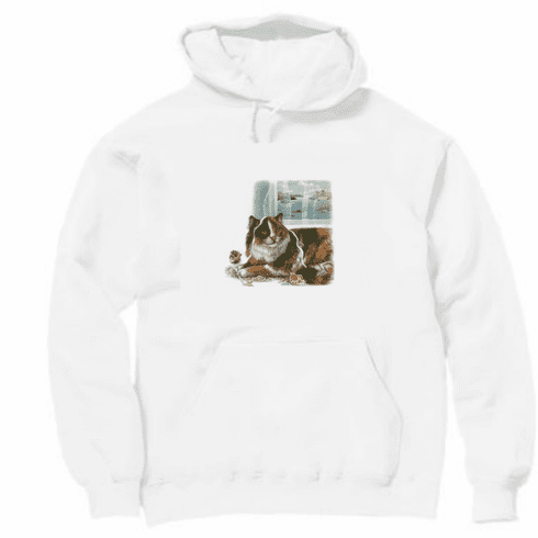 Animal Nature cat kitten kitty window sill pullover hoodie hooded sweatshirt