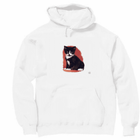 Animal nature kitten kitty cat black white pullover hoodie hooded sweatshirt