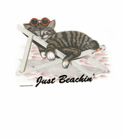 Animal Nature kitten kitty cat Just Beachin' relaxing folding beach chair shirt t-shirt