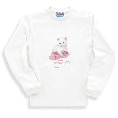 Animal Nature kitten kitty cat white ballet slipper long sleeve tshirt sweatshirt