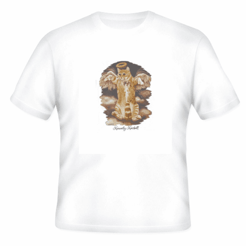 Animal Nature kitten kitty cat with a halo Heavenly hairball shirt t-shirt