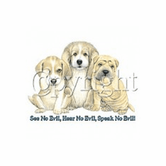 Animal nature puppy dog see no evil hear no evil speak no evil tshirt shirt