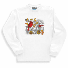 Animal nature wild Cardinal sunflower long sleeve tshirt sweatshirt