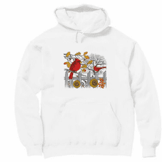 Animal nature wild Cardinal sunflower pullover hoodie hooded sweatshirt