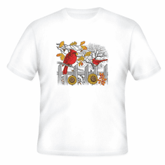 Animal nature wild Cardinal sunflower tshirt shirt