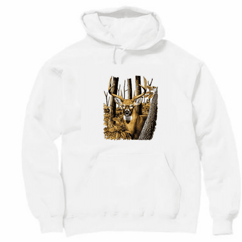 Animal nature wild life buck deer woods pullover hoodie hooded sweatshirt