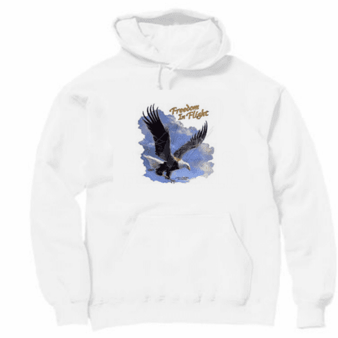 Animal nature wild life eagle Freedom in Flight sky clouds pullover hoodie hooded sweatshirt