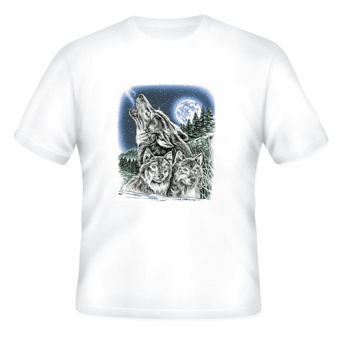 Animal nature wild life wolf wolves full moon tshirt shirt