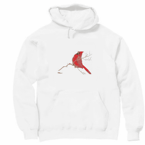Animal Nature wild red bird cardinal on a branch pullover hoodie hooded