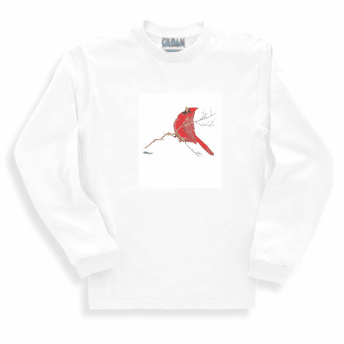 Animal Nature wild red bird cardinal on a branch sweatshirt long sleeve t-shirt