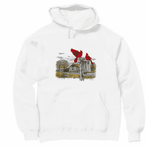 Animal nature wild red bird cardinal rustic barn pullover hoodie hooded sweatshirt