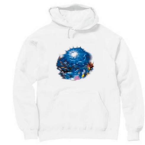 Animal nature wild under the sea ocean view dolphin tropical fish pullover hoodie hooded sweatshirt