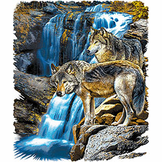 Animal nature wild wolves wolf waterfall tshirt shirt