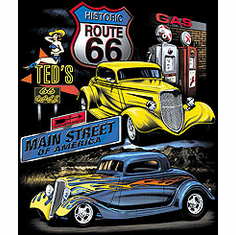 Antique Cars Car Main Street of America Historic Route 66 t-shirt shirt