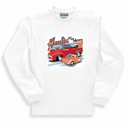 Antique classic sweatshirt or long sleeve truck T-shirt.  HAULIN' BY HENRY