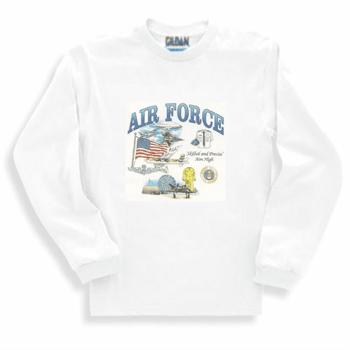 Armed Forces Military Air Force long sleeve t-shirt shirt sweatshirt sayings United States US Air Force skilled and precise Aim High