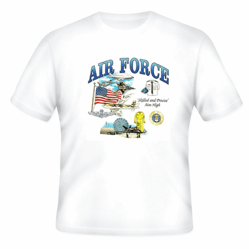 Armed Forces Military Air Force t-shirt shirt sayings United States US Air Force skilled and precise Aim High