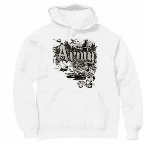 Armed Forces Military Army hoodie hooded sweatshirt sayings United States of America US Army Any time, Any place, Any where