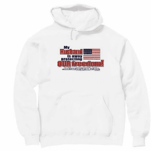 Armed Forces United States US Military Navy Army Air Force Marines Coast Guard Flag hoodie hooded sweatshirt My Husband is away protecting our freedom and I am very proud of him