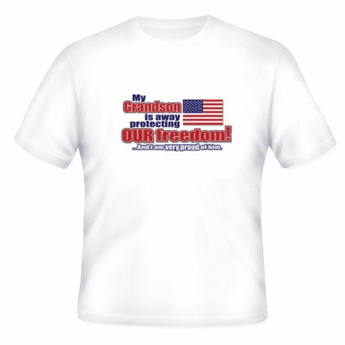 Armed Forces United States US Military Navy Army Air Force Marines Coast Guard Flag t-shirt shirt My Grandson is away protecting our freedom and I am very proud of him