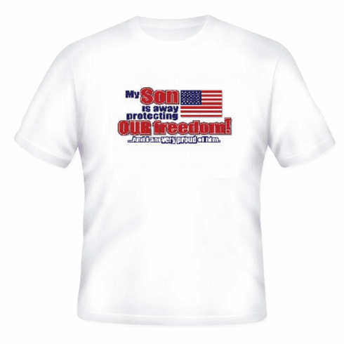 Armed Forces United States US Military Navy Army Air Force Marines Coast Guard Flag t-shirt shirt My Son is away protecting our freedom and I am very proud of him