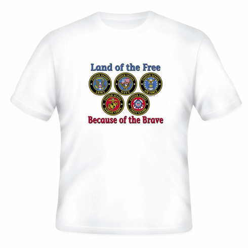 Armed Forces United States US Military Navy Army Air Force Marines Coast Guard t-shirt shirt Land of the free because of the brave