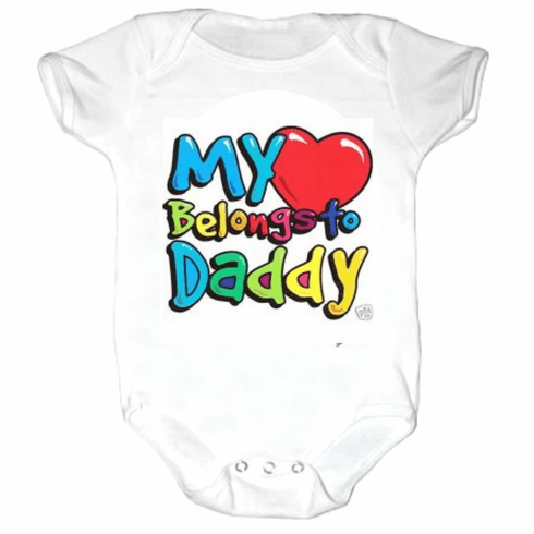 Baby Infant Toddler kids Creeper sleeper body suit one piece My Heart belongs to Daddy
