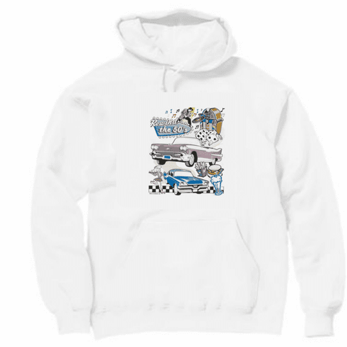 car truck hoodie hooded sweatshirt Rewind the 50's Classic cars