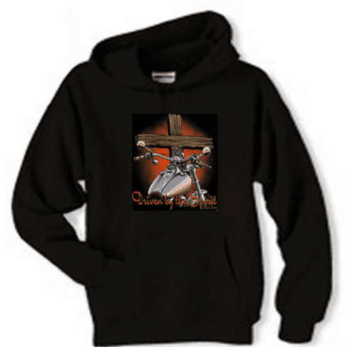 Christian biker pullover hooded hoodie sweatshirt Driven by the Spirit