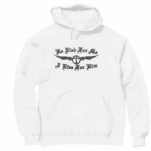Christian biker pullover hooded hoodie sweatshirt He Jesus died for me I live for Him