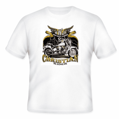 Christian biker t-shirt WWJR What would Jesus Ride motorcycle rider
